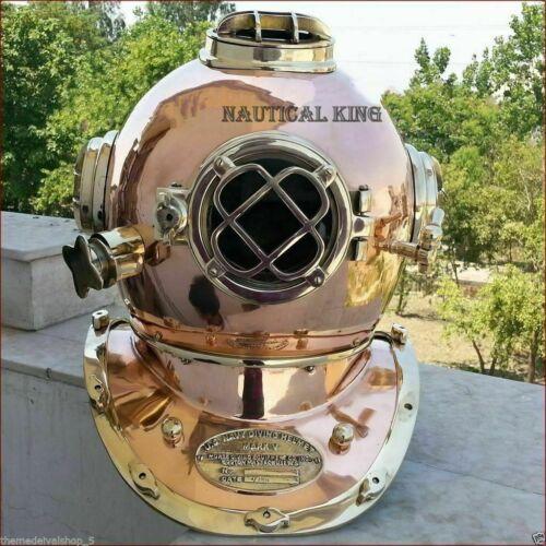 Copper Brass Diving Helmet Vintage US Navy Mark V Deep Sea Marine Divers Scuba