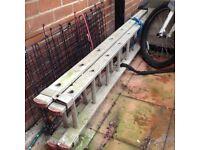 Heavy duty professional aluminium extending ladders.