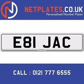 E81 JAC Jack Jacklyn Registration Number Private Plate Cherished Number Car Personalised Plate Jack