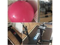 YORK FITNESS BENCH, SIT-UP BENCH, WEIGHTS & FITNESS BALL