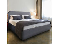 New Geneva Grey Fabric 4ft6 Double Bed with Memory Foam Mattress