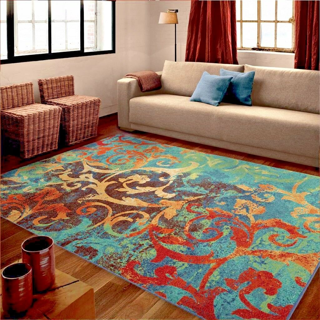 Rugs Area Rugs 8x10 Rug Carpets Modern Large Colorful Bedroom 5x7 Cool Blue Rugs Ebay