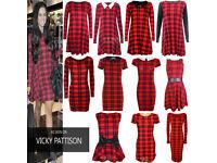 Women Red Tartan Print Cloths