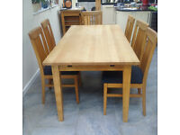 Solid oak John Lewis dining table and chairs