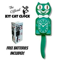 GREEN BEAUTY KIT CAT CLOCK 15.5 Free Battery MADE IN THE USA Kit-Cat Klock