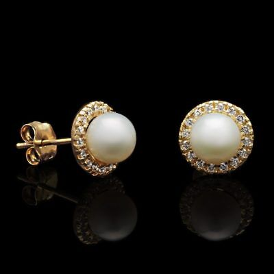 0.30Ct Simulated Diamond 5mm Cultured Pearl Halo Stud Earrings 14K Yellow Gold 5mm Cultured Pearl Stud Earring