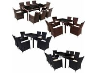 RATTEN GARDEN FURNITURE DINING TABLE 6 AND 8 CHAIRS DINING SET OUTDOOR PATIO FURNITURE BRAND NEW