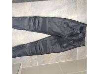 Black Belstaff leather bike trousers - size 10. Execllent condition