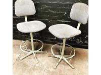 Fabulous pair of vintage industrial stools.
