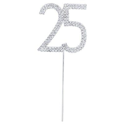 Crystal Rhinestone Cake Topper Number Age 25th Birthday Anniversary Decoration