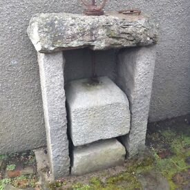 Old cheese granite cheese press