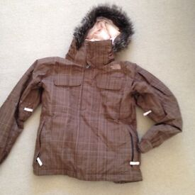 THE NORTH FACE LADIES SNOW JACKET BROWN PLAID XS