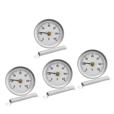 4PC Rohrfeder Clip on Thermometer Economy 63mm 0 120 ℃ Temperaturanzeige Clip-on-thermometer