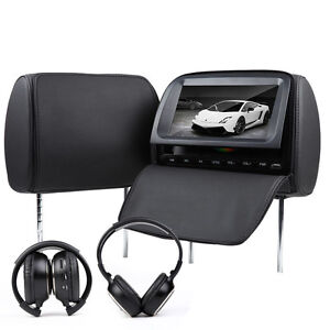 2x9-BLACK-LEATHER-HD-LCD-In-Car-Pillow-Headrest-DVD-Player-IR-HeadphoneS-USB-SD