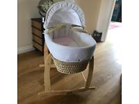 Clair de lune Moses basket with deluxe rocking stand