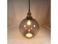 Ceiling Lamp With Smoked Glass Ball Shade, 8W Filament LED Bulb Included