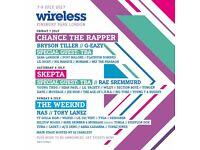 FRIDAY WIRELESS FESTIVAL TICKET- 7TH JULY- FINSBURY PARK- CHANCE THE RAPPER/ BRYSON TILLER