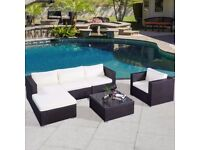 free uk delivery 6pcs rattan conservatory garden furniture set brand new