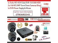 Hikvision CCTV Kit, 4CH HikVision Turbo-HD Cube DVR 500GB HDD, 2x Hikvison 1080P 2MP Dome Cameras