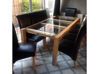 Bespoke designer table &10 chairs oak/glass