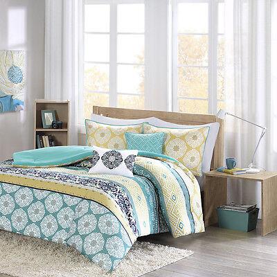 BEAUTIFUL MODERN CHIC BLUE YELLOW GREEN WHITE TEAL AQUA BOHEMIAN COMFORTER SET ()