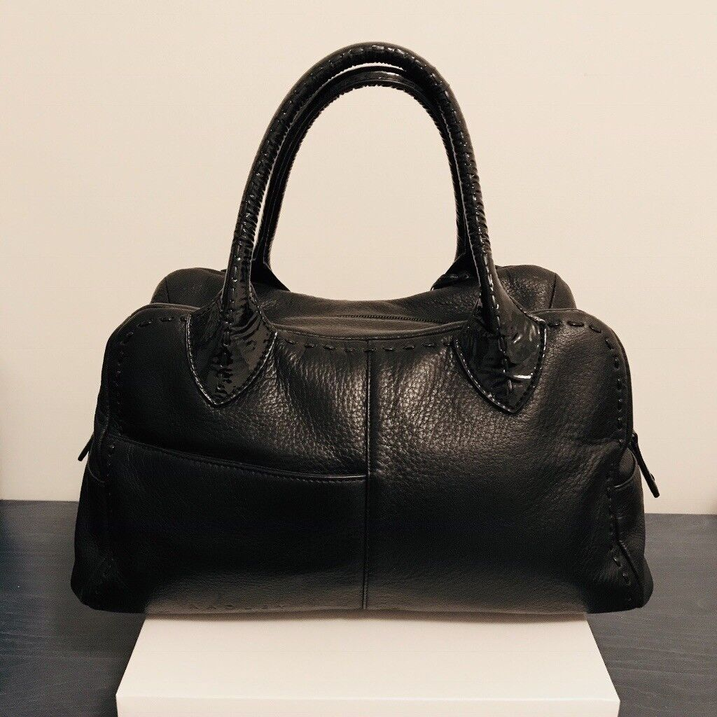 Black Leather Handbag With Patent Trim And Decorative Sching Complete Radley Dog Tag