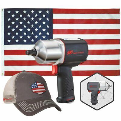 "Ingersoll Rand 2135QXPA 1/2"" Impact w/ Hat, USA Flag & Sticker!"