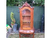 reproduction yew wood effect display cabinet