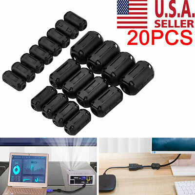 20pc Cable Clips Clip-on Ferrite Ring Core Emi Rfi Noise Suppressor Filter Beads