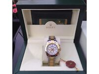 Complete box set two tone bracelet white face rolex daytona with sweeping movement the complete pac
