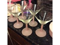 Frosted pink stem glasses lovely condition .