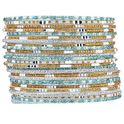 Lux Accessories Mint Gold Tone Glitter Indian Wedding Boho Multi Bangle Set 24PC - Minted Wedding