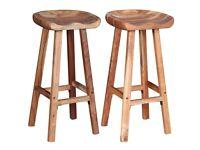 Bar Stools 2 pcs Solid Acacia Wood-244247