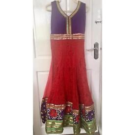 A gorgeous red & purple long length indian Anarkali