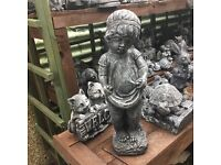 Large stone shy girl garden ornament