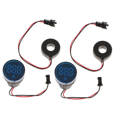2pcs 0-100a Led Display Digital Ac Ammeter Ampere Meter Mutual Inductor Blue