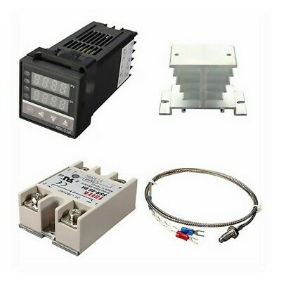 Pid Rex-c100 Temperature Controller Ssr 40da K Thermocouple Heat Sink Kit
