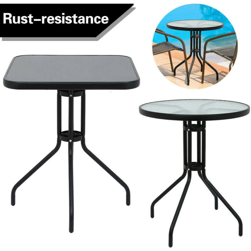 Small Square Table Outdoor Glass Top Side Patio Metal Balcon