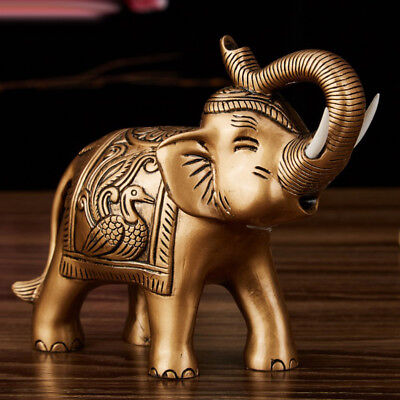 Feng Shui Decor Chinese Lucky Charm Money Elephant Figurine Gold Copper