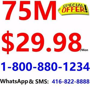 Free Shipping , 75M Unlimited internet only $29.98/month, or 150M $49.98/month,no contract 1-800-880-1234