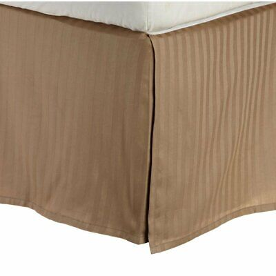 Superior Combed Cotton 300 Thread Count Bed Skirt Stripe Taupe Queen Stripes Taupe 300 Thread