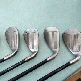 Lefthand callaway x20 golf clubs in average condition granite shafts 3 through to sand wedge
