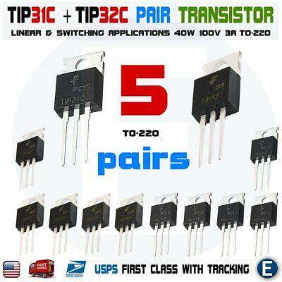 10pcs 5pairs Tip31ctip32c Npn Pnp 3a 100v Transistor To-220 Bipolar Tip31 Tip3