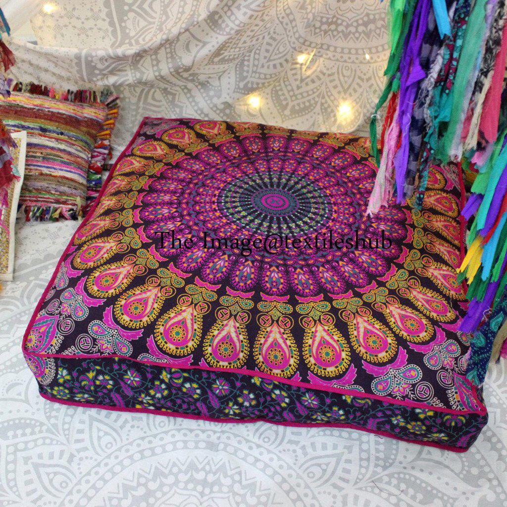 "35"" Mandala Indian Square Cushion Floor Pillow Case Seating"
