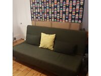 IKEA Beddinge 3-seater futon sofa bed with upgraded mattress and cover, excellent condition.