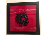 Set of two Laura Wallace black and red glass framed art pictures | Modern Contemporary