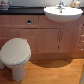 Shower cubicle, toilet, basin and fitted furniture
