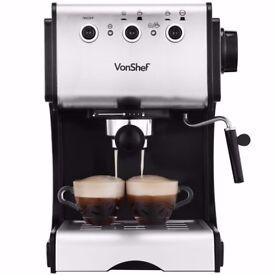 VonShef 15 Bar Pump Espresso Coffee Maker Machine, used twice, as new condition