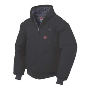 NEW Tough Duck Men's Bomber with Hood Outerwear, Black, L
