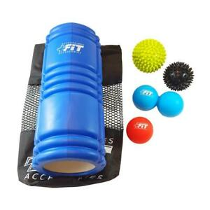 PLUS FIT Accessories - 5 Piece Exercise and Therapy Recovery Kit - Medium-Density Blue 13 EVA Foam Roller